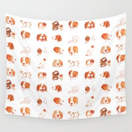Faces and Poses of a Brittany Spaniel Wall Tapestry