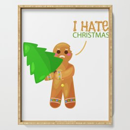gingerbread man hate christmas funny gift Serving Tray