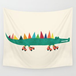 Crocodile on Roller Skates Wall Tapestry