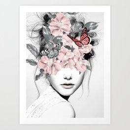 WOMAN WITH FLOWERS 10 Art Print