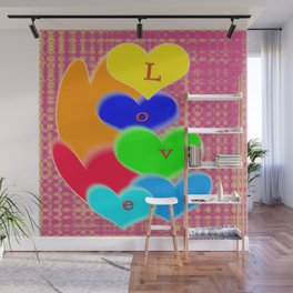 coloured love hearts Wall Mural