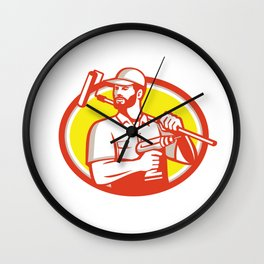Handyman Cordless Drill Paintroller Oval Retro Wall Clock