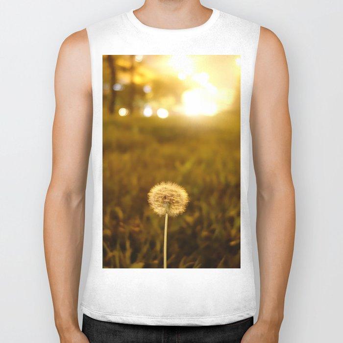 Golden Dandelion Sunset Biker Tank