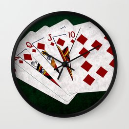 Poker Royal Flush Diamonds Wall Clock