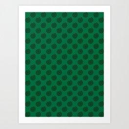 Black on Cadmium Green Spirals Art Print