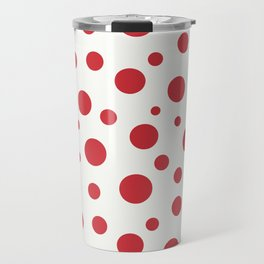 Red circles of different sizes over beige background Travel Mug
