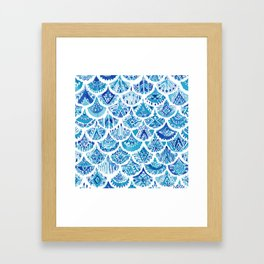 AZTEC MERMAID Tribal Scallop Pattern Framed Art Print