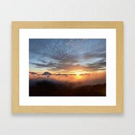 Sunrise above the clouds Framed Art Print