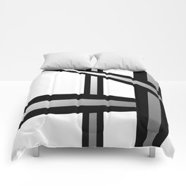 Bold Metallic Beams - Minimalistic, abstract black and white artwork Comforters