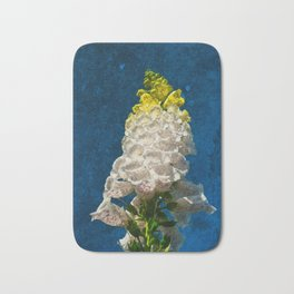 White Foxglove flowers on texture Bath Mat