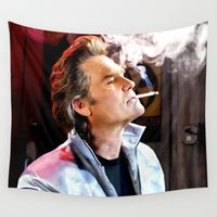 kurt rahn Wall Tapestries featuring Kurt Russell as Stuntman Mike McKay in the film Death Proof (Quentin Tarantino - 2007) by Gabriel T Toro