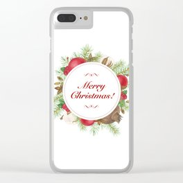 Wreath with christmas decoration Clear iPhone Case