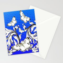 WHITE BUTTERFLIES FLUTTERING WITH BAROQUE FLORAL Stationery Cards