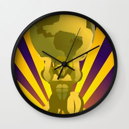 golden atlas holding the globe Wall Clock