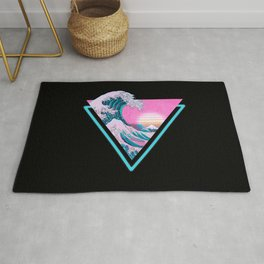 Vaporwave Aesthetic 80's 90's Great Wave Off Kanagawa Rug