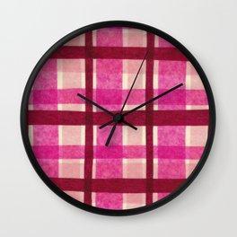 Tissue Paper Plaid - Pink Wall Clock