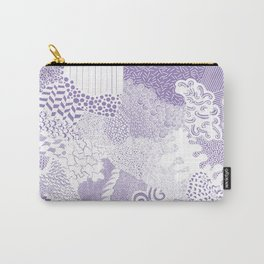 Doodle Sheet purple and white Carry-All Pouch