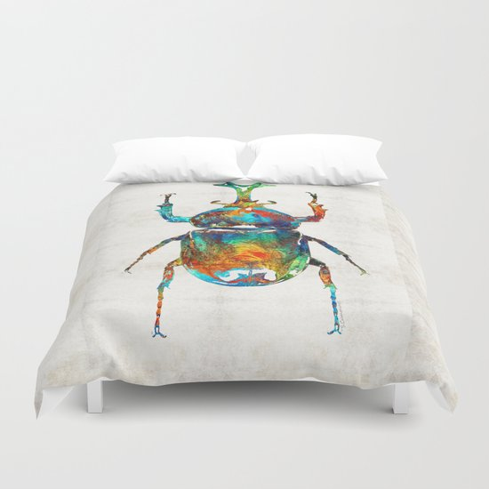 Colorful Beetle Art - Scarab Beauty - By Sharon Cummings Duvet Cover
