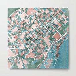 Watercolour Barcelona Map Metal Print