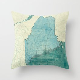 Maine State Map Blue Vintage Throw Pillow