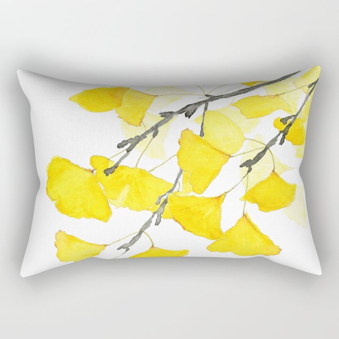 Golden Ginkgo Leaves Rectangular Pillow