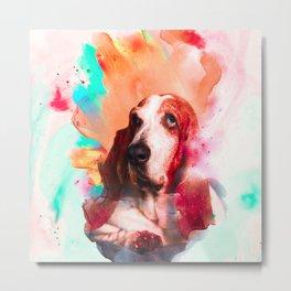Basset hound Illustration Metal Print