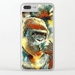 AnimalArt_Gorilla_20180201_by_JAMColorsSpecial Clear iPhone Case