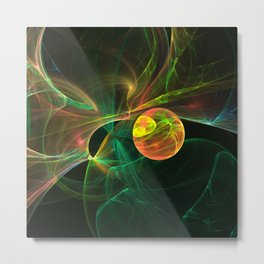 Abstract fractal orange planet. Space theme. Computer generated graphics. Metal Print