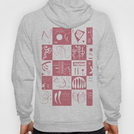 Kandinsky - White and Rose Pattern - Abstract Art Hoody