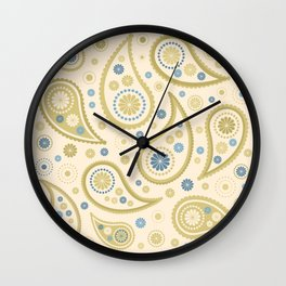 Paisley Funky Design Cream Golds Blues Wall Clock