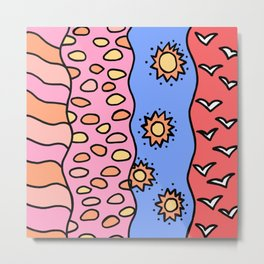 Doodle Art Drawing - Seagulls Rocks and Waves - Coral Blue Pink 2 Metal Print