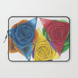 Complimentary Color Rose Trio With Geometric Triangles Laptop Sleeve