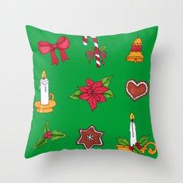 Christmas pattern (#2 green) Throw Pillow