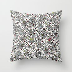 Retro Robots Throw Pillow