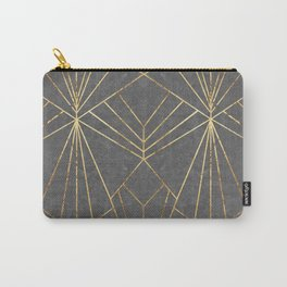 Art Deco in Gold & Grey - Large Scale Carry-All Pouch