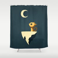 cat coquillette Shower Curtains featuring Moon Cat by Freeminds