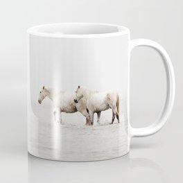 White Camargue Horses - Minimalist Nature Photography Coffee Mug