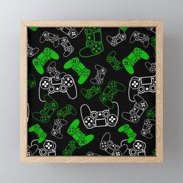 Video Games Green on Black Framed Mini Art Print