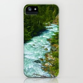 Here Be Bears - Black Bear and Wilderness River iPhone Case