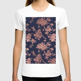 Modern elegant navy blue faux rose gold floral T-shirt