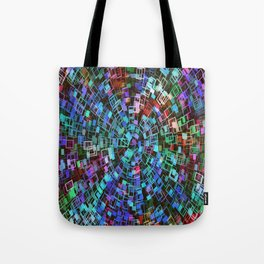 Blue Squared Vortex Tote Bag