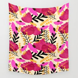 Vibrant Floral Wallpaper Wall Tapestry