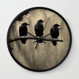 Three Like Minded Crows Wall Clock