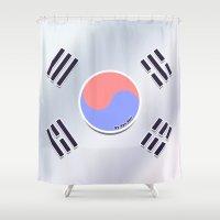 korean Shower Curtains featuring Korean Flag by AyuChii