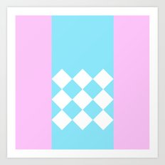 Pink and Blue Checkered Art Print