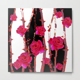 MODERN ART PINK ROSE BLACK & WHITE ART Metal Print