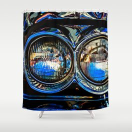 Double Headlights Color Shower Curtain