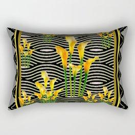 Golden Calla Lilies Black-Grey Harlequin Art Rectangular Pillow