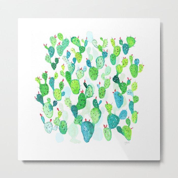 Watercolour Cacti Metal Print