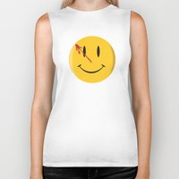 watchmen Biker Tanks featuring Who watches the watchmen?  by Vickn